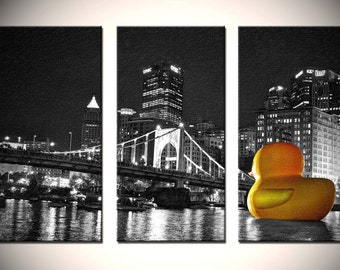 Urban Triptych, Fine Wall Art, Pittsburgh Duck in gold, black, and white - Our Sentinel