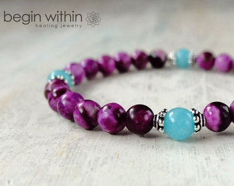 Archangel Michael Bracelet / Angel Bracelet / Angel Wing Jewelry / Sugilite, Amazonite / Angel Jewelry