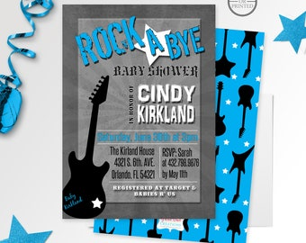 Rock a Bye Baby Shower Invitations, Rock Star Baby Shower Invitations, Rockstar Baby Shower Invitations, Rock and Roll,  Printable Invite