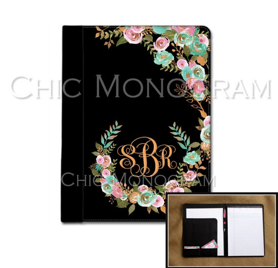 Mint and Gold Monogrammed Pad Folio Notebook Notepad Portfolio Personalized Custom Monogrammed Gift For Coworkers New Job Gift Office Items
