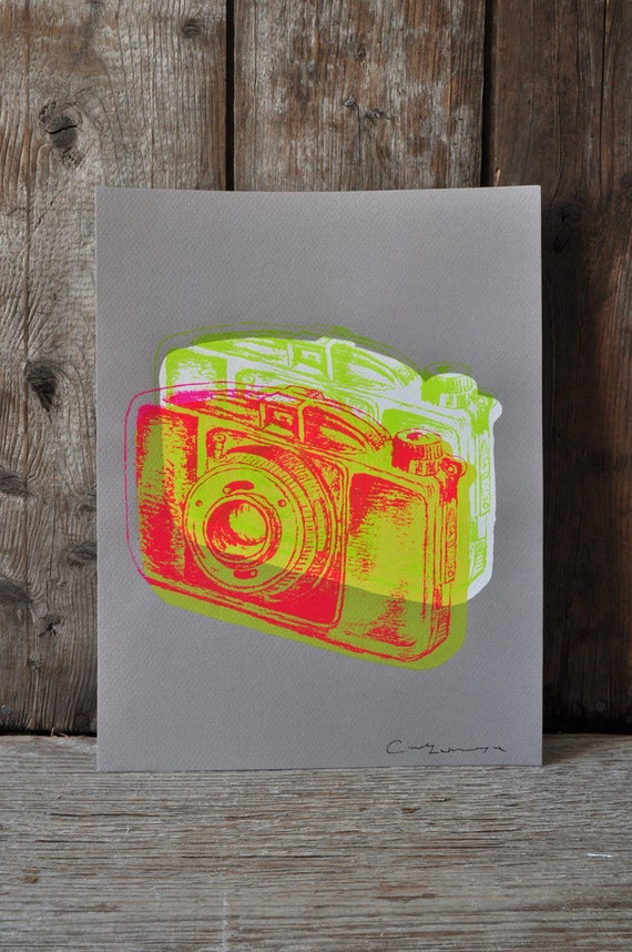 Camera #18, hand pulled silkscreen print, Boyer camera, 8.5 x 11 inches, open edition.
