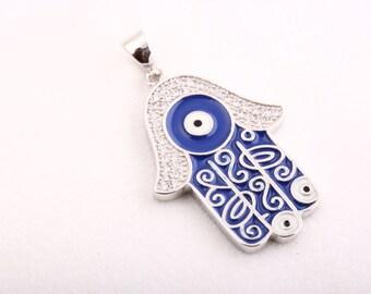 Hand of Fatima! Turkish Handmade Jewelry Topaz Hamsa Evil Eye 925 Sterling Silver Pendant