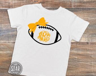 Monogrammed Football Kids Shirt - Football Bodysuit - Personalized Football Shirt - Monogram Baby Tee - Football Baby Tee