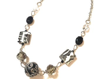 Necklace. Black, white, clear, gray. Bulky. Silver Chain.