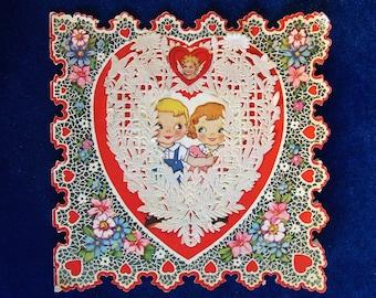 1920's Lace Valentine Card Delicate Paper Children
