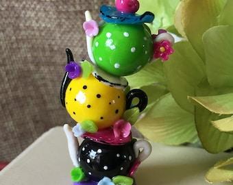 Triple Alice in wonderland miniature teapot