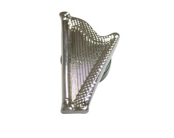 Silver Toned Harp Musical Instrument Magnet
