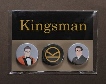 Kingsman button badges – Eggsy orange jacket – K logo pin – Harry Hart – Golden Circle – Manners Maketh Man – cosplay fandom prop replica