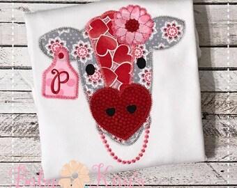 Valentine Cow Patchwork Design 4x4, 5x7, 6x10, 8x8