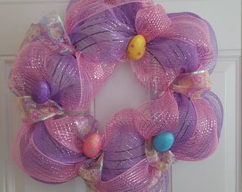Mesh Easter Wreath with Ribbon and Easter Eggs