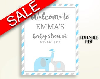 Welcome Sign Baby Shower Welcome Sign Elephant Baby Shower Welcome Sign Blue Gray Baby Shower Elephant Welcome Sign party décor C0U64