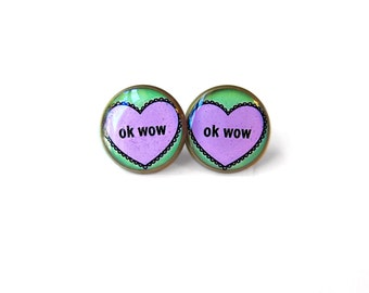 OK WOW Coversation Heart Lavender and Mint Green Stud Earrings - Anti Valentines Day Jewelry - Pastel Goth Insult Heart Pop Culture Jewelry