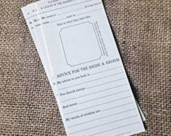 12 Words of wisdom / Guest Advice Cards for the Bride & Groom