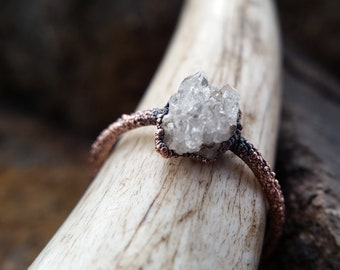 Tiny Geode Engagement Ring | Copper Electroformed Ring | US Size 5 1/2