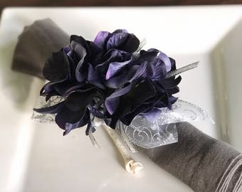 Napkin Ring - Sapphire Blue Hydrangea - Wedding Decoration - Wedding Showers - Easter