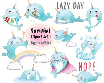 Blue Narwhal clipart set 1 instant download PNG file - 300 dpi