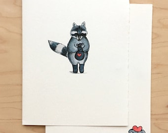 Valentine Card Heart Thief Raccoon