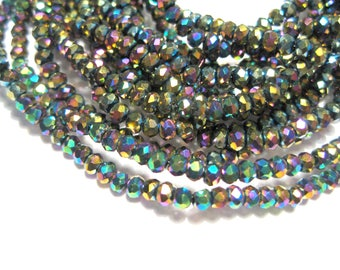 1 Strand Electroplate Rainbow Faceted Rondelle Glass Beads 2mm