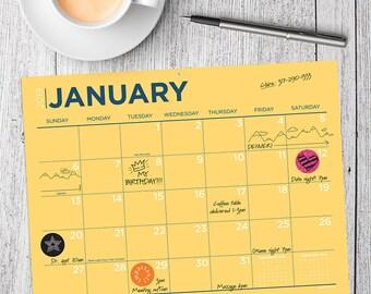 2019 Color Collection Mini Desk Pad Calendar