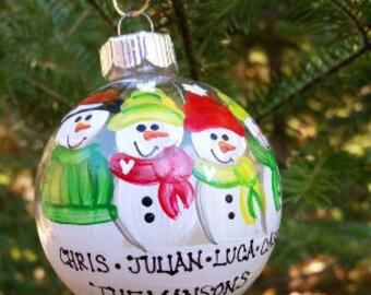 CUSTOM Family Personalized Snowman Ornament - YOU Design It!