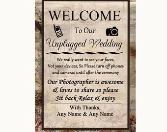 Vintage No Phone Camera Unplugged Personalised Wedding Sign
