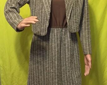 1970s Sleeveless Work Dress w/ Jacket, S-M