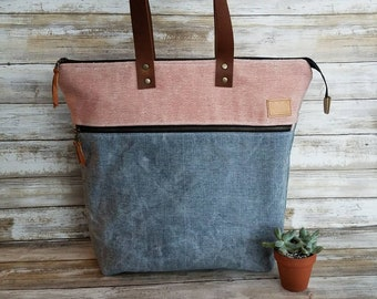 Waxed canvas zippered tote