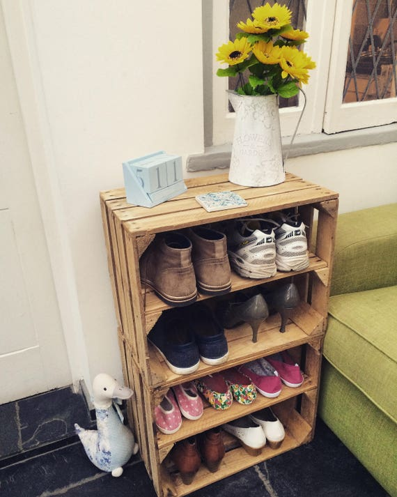 4 x wooden crate storage shoe racks rustic style shabby chic rh etsy com shabby chic small shoe rack shabby chic vintage shoe rack