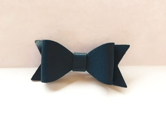 Navy Blue Leather Bow Hair Accessory