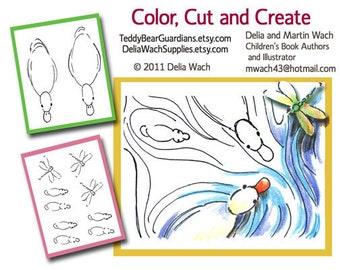 Canards dans une mare - couleur, couper et créer - PDF imprimable