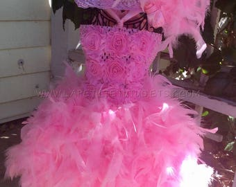 Shabby flower feather dress, pageant outfit, feather tutu, tutu couture, dress couture, high fashion, child feather tutu, couture feather