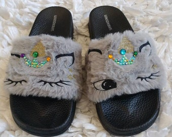Unicorn slippers for Women, slippers for women, unicorn, house shoes, fur slides, grey slippers, gray sandals, sandals, women house shoes