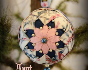 Handmade Quilted & Beaded Christmas Ball Ornament Pink Blue White