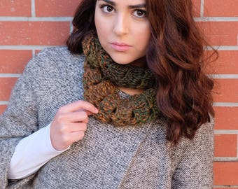Green and Bronze Infinity Scarf
