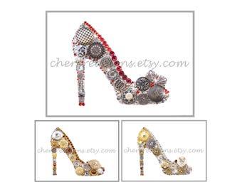 HI STEPPIN'- 5x7. Button Art, Button Artwork, metal buttons, silver gold, shoe art, ladies heels, high heel art, shoe art made USA