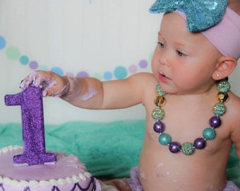 Under The Sea Chunky Necklace, Mermaid Chunky Necklace, Purple & Aqua Necklace, Bubblegum Bead Necklace, Baby Bubblegum Necklace