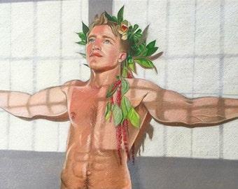 Nude Male - Original Color Pencil Illustration