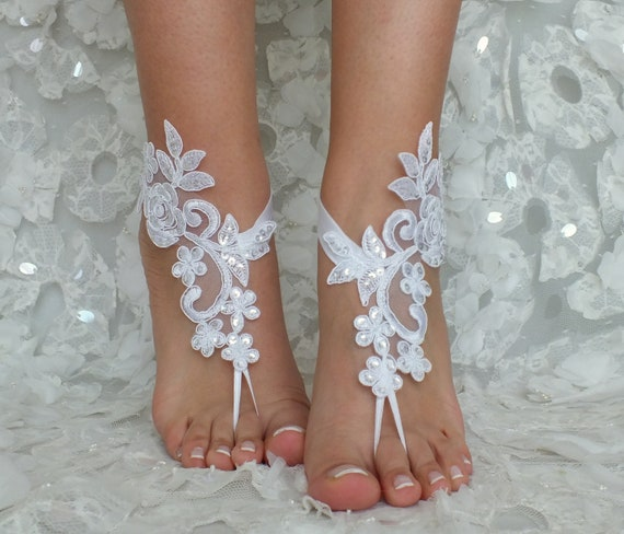 4e4f0623e4a ... sandals sandals Wedding sandals Bridal wedding lace barefoot lace  barefoot white ivory Flexible Gift or sandals ...