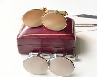 Vintage cufflinks   1950's Krementz plain classic gold or silver cuff links   imitation citrine moonstone   gift for him   best man gift
