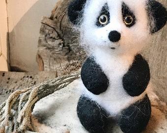 Felted toy panda bear