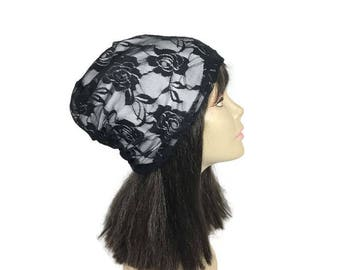FREE SHIPPING/Custom Lining/Size Black and White Lace Slouchy Hat All Seasons Lightweight Slouchy Hat Lace Beanie Floral Lace Beanie Hats