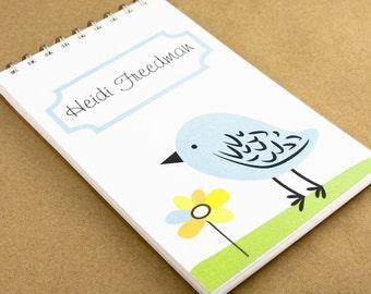 Personalized Spiral Journal Notebook - Blue Bird