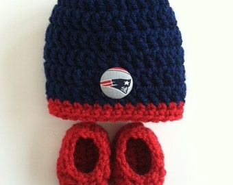 New England Patriots baby hat and booties, Patriots baby gift, Crocheted hat and booties, Baby gift set, Baby Shower Gift,