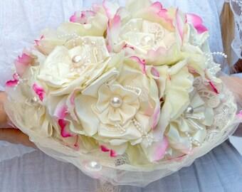 Ivory bridal bouquet satin bouquet Silk flower bouquet wedding bouquet brooch bridal bouquet pink bridal bouquet alternative fabric bouquet