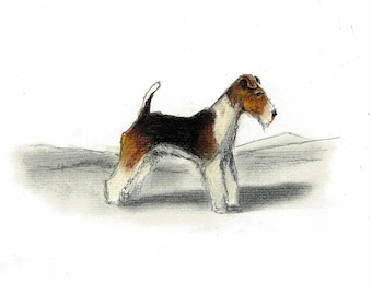Wire Fox Terrier Dog Art Vintage Style Print