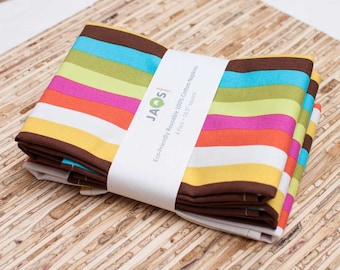 Large Cloth Napkins - Set of 4 - (N962) - Colorful Stripes Modern Reusable Fabric Napkins
