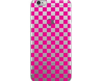 Pink Checkerboard Pattern iPhone Case
