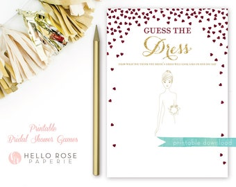 Guess the Dress Bridal Shower Game . Printable Instant Download . Burgundy and Gold . Gold Glitter . Digital Download . Bridal Shower Games
