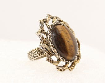 Vintage Tigers Eye Statement Ring Vintage Oval Antiqued Gold Chunky Costume Jewelry Ring