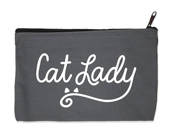Cat Lady - Gray Canvas Zip Pouch